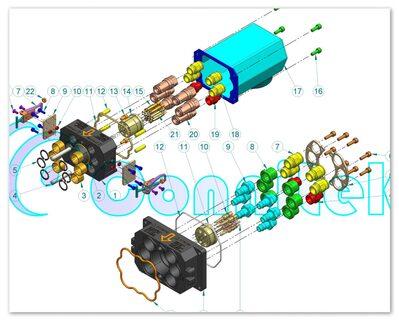 Esploso connettore speciale a progetto elttropneumatico